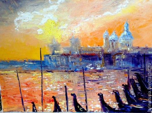 """Пейзаж ручной работы. Ярмарка Мастеров - ручная работа. Купить Картина маслом """"Венеция на закате"""". Handmade. Картина в подарок"""