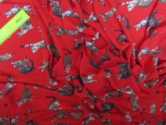 Шитье ручной работы. Ярмарка Мастеров - ручная работа. Купить Шелк стрейч супер софт арт.43 АТШ-10 (Корея) ярко-красный. Handmade.