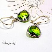 Украшения handmade. Livemaster - original item Classic silver earrings with green pendant. Handmade.