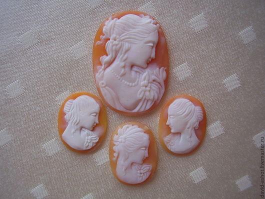 """Для украшений ручной работы. Ярмарка Мастеров - ручная работа. Купить Камея комплект """"ЭВЕЛИНА"""". Handmade. Оранжевый, художественная резьба"""