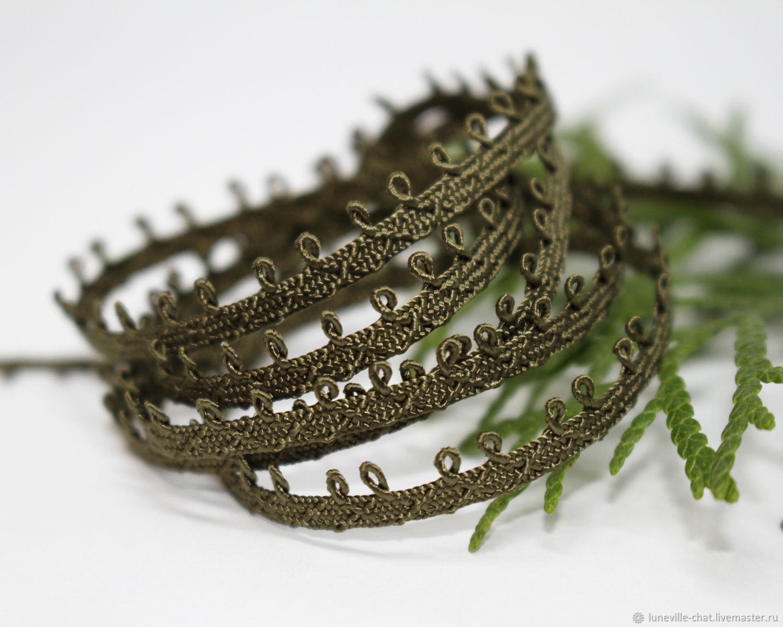 Pico mokuba ribbon 5 mm dark olive (№16), braid, St. Petersburg,  Фото №1