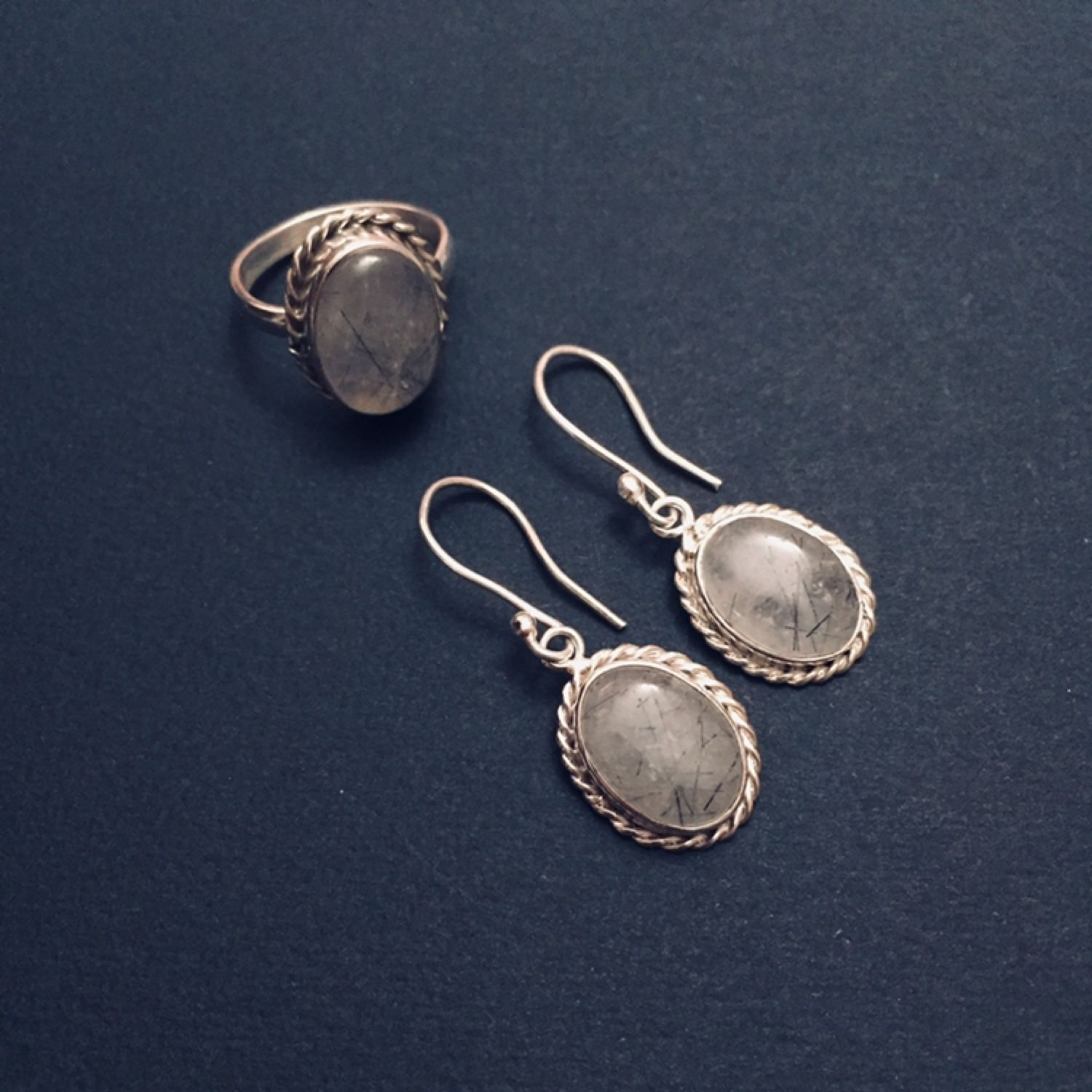 Rutile quartz earrings and ring, Jewelry Sets, Moscow,  Фото №1
