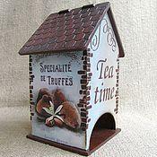 """Для дома и интерьера ручной работы. Ярмарка Мастеров - ручная работа Домик для чайных пакетиков """"Шоколадный трюфель"""". Handmade."""