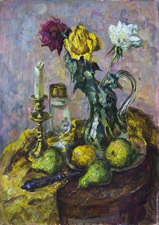 Нарядный теплый натюрморт с разноцветными розами. фруктами и старинным бронзовым подсвечником, написанный в манере классической живописи. Может служить украшением любого интерьера, особенно интерьера