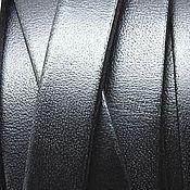 Шнуры ручной работы. Ярмарка Мастеров - ручная работа Кожаный шнур плоский 10 мм черный. Handmade.