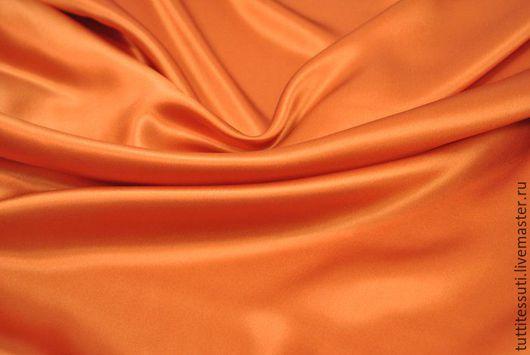 Шитье ручной работы. Ярмарка Мастеров - ручная работа. Купить Шелк-атлас. Handmade. Рыжий, Плательная ткань, ткани для одежды
