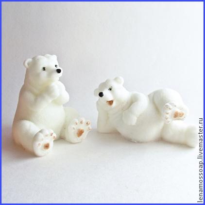 Новый год 2017 ручной работы. Ярмарка Мастеров - ручная работа. Купить Мыло новогоднее Полярные Мишки. Handmade. Белый
