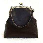 Сумки и аксессуары handmade. Livemaster - original item Brown leather bag on the clasp. Handmade.