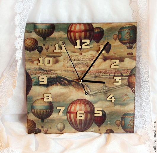 """Часы для дома ручной работы. Ярмарка Мастеров - ручная работа. Купить Часики """"Путешествие на шаре"""". Handmade. Часы, Декупаж часы"""