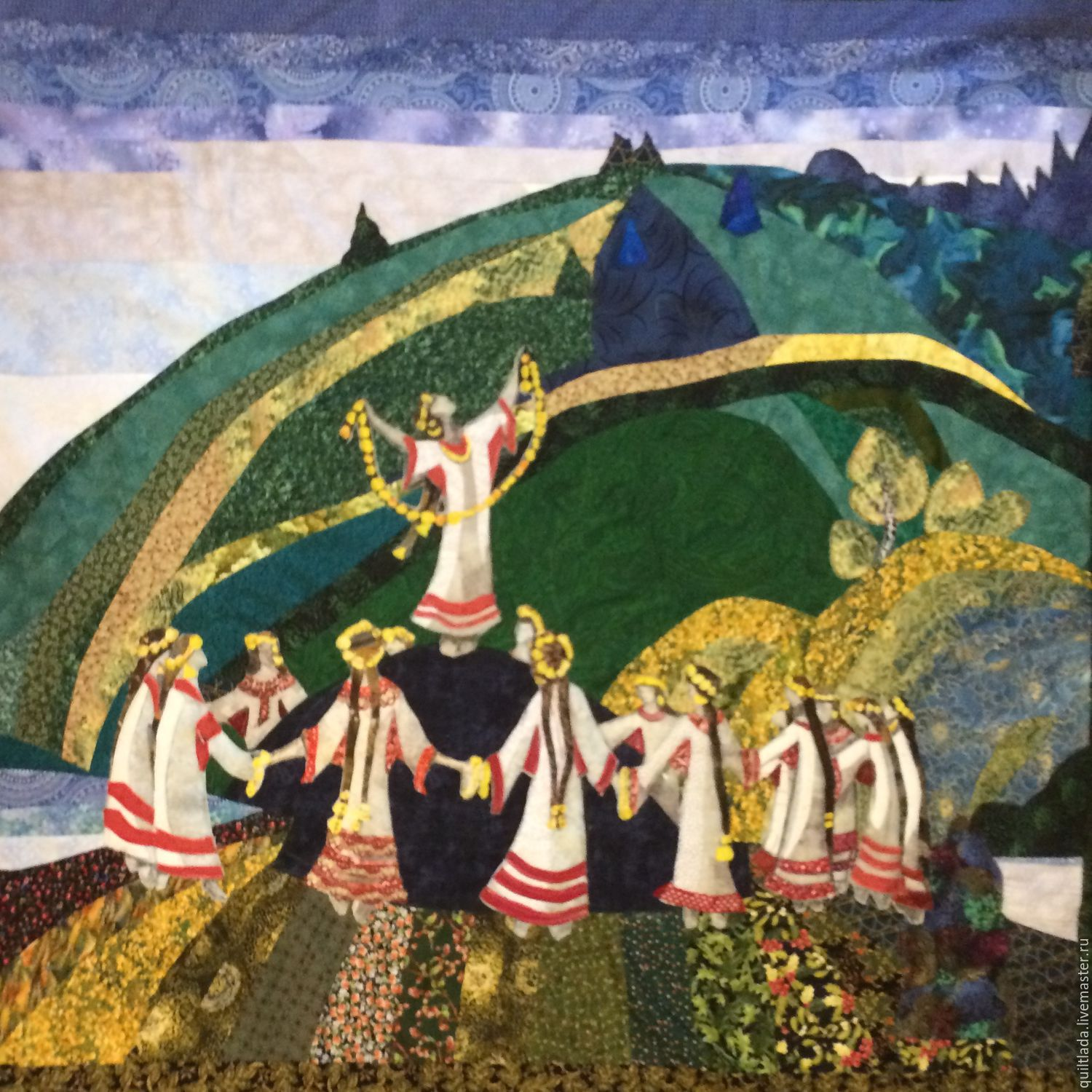 """Pachwork blanket """"Sacred Spring"""" based on the paintings of Roerich, Blanket, Moscow,  Фото №1"""