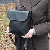Сумки и аксессуары ручной работы. Ярмарка Мастеров - ручная работа Кожаный черный женский рюкзак. Handmade.