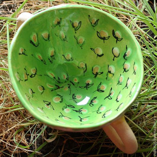 Кружки и чашки ручной работы. Ярмарка Мастеров - ручная работа. Купить Весенняя чашка двуручная. Handmade. Ярко-зелёный, для варенья