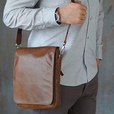 Bags and accessories handmade. Livemaster - original item Men`s leather crossbody bag