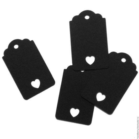 Упаковка ручной работы. Ярмарка Мастеров - ручная работа. Купить Черные бирки Тег с сердцем 4 х 6,5 см. Handmade.