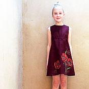 Работы для детей, handmade. Livemaster - original item Burgundy toddler dress with painted fox, sleeveless girl outfit. Handmade.