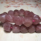 Материалы для творчества handmade. Livemaster - original item Strawberry quartz large beads 16h14 mm. Handmade.