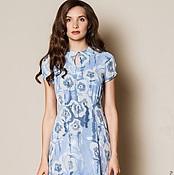 Одежда ручной работы. Ярмарка Мастеров - ручная работа Платье голубое с воланом. Handmade.