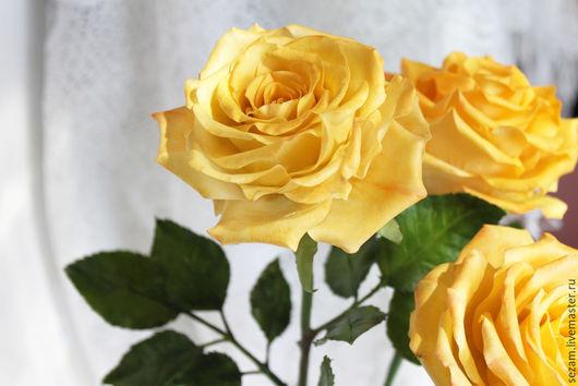 Цветы ручной работы. Ярмарка Мастеров - ручная работа. Купить Розы из холодного фарфора. Handmade. Бежевый, розы ручной работы