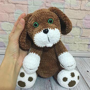 Куклы и игрушки ручной работы. Ярмарка Мастеров - ручная работа Плюшевый вязаный щенок, вязаная собака Дружок. Handmade.