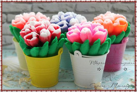 """Мыло ручной работы. Ярмарка Мастеров - ручная работа. Купить Мыло """"Букет тюльпанов в ведерке"""". Handmade. Розовый, подарок женщине"""