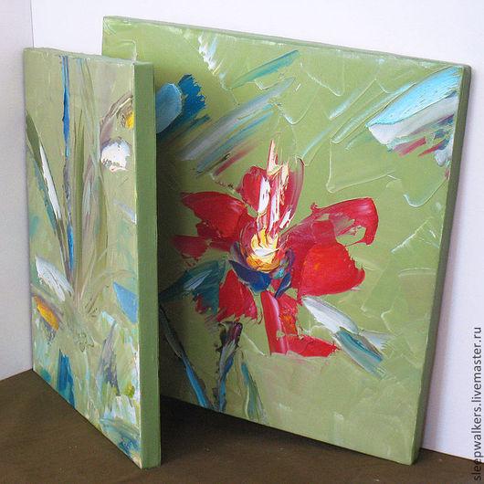 """Картины цветов ручной работы. Ярмарка Мастеров - ручная работа. Купить """"Аленький цветочек"""" две части по 40х40 см модульная картина маслом. Handmade."""