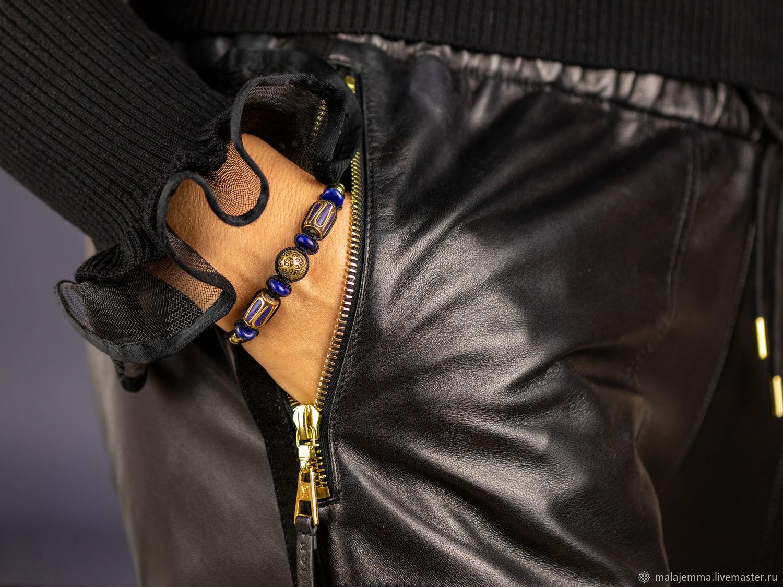 Лазурит женский Браслет плетеный с натуральным Лазуритом, Браслет плетеный, Магнитогорск,  Фото №1