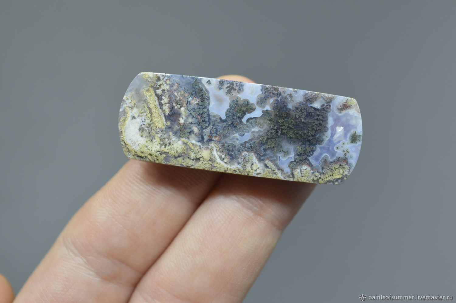 Indonesian moss agate. Cabochon 46h17h6, Cabochons, Moscow,  Фото №1