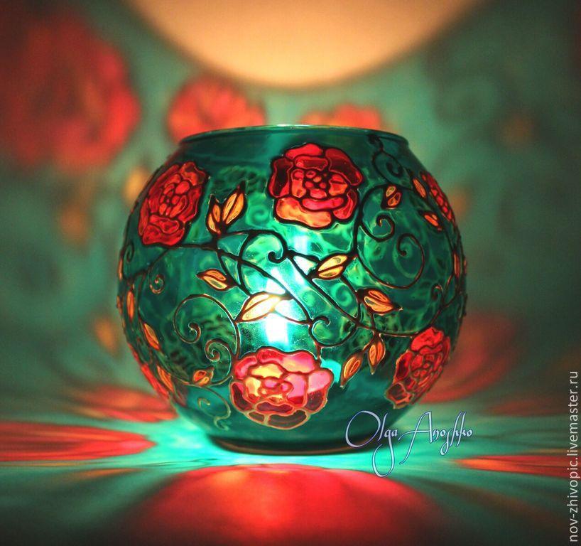 Vase Candle Holder Fleur De Jardin Stained Glass Painting Shop