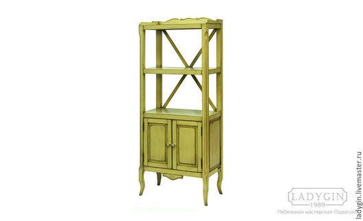 Деревянная этажерка с дверками в стиле прованс от Ladygin фисташковая