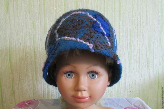 Шляпы ручной работы. Ярмарка Мастеров - ручная работа. Купить Женская нарядная весенняя шапочка.. Handmade. Тёмно-синий