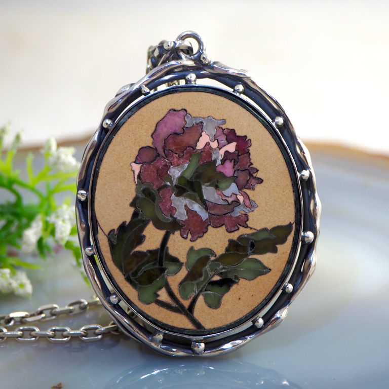 Pendant 'English rose' - the Florentine mosaic silver, Pendants, Prague,  Фото №1
