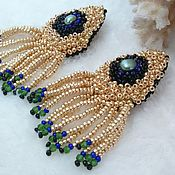 Украшения handmade. Livemaster - original item Golden peacock beaded poussette earrings. Handmade.