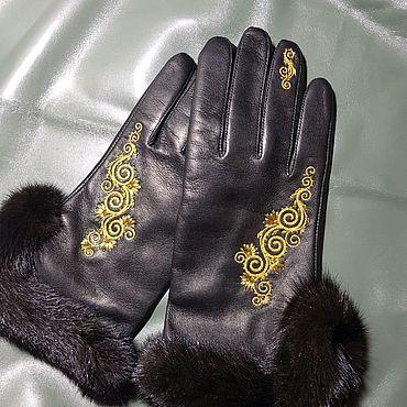 Аксессуары ручной работы. Ярмарка Мастеров - ручная работа Перчатки кожаные с вышивкой и опушкой. Handmade.