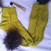 Аксессуары handmade. Livemaster - original item Wool socks - lime. Handmade.