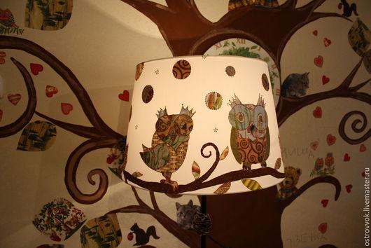 """Детская ручной работы. Ярмарка Мастеров - ручная работа. Купить торшер """"Совы"""". Handmade. Разноцветный, в детскую, оригинальный светильник"""