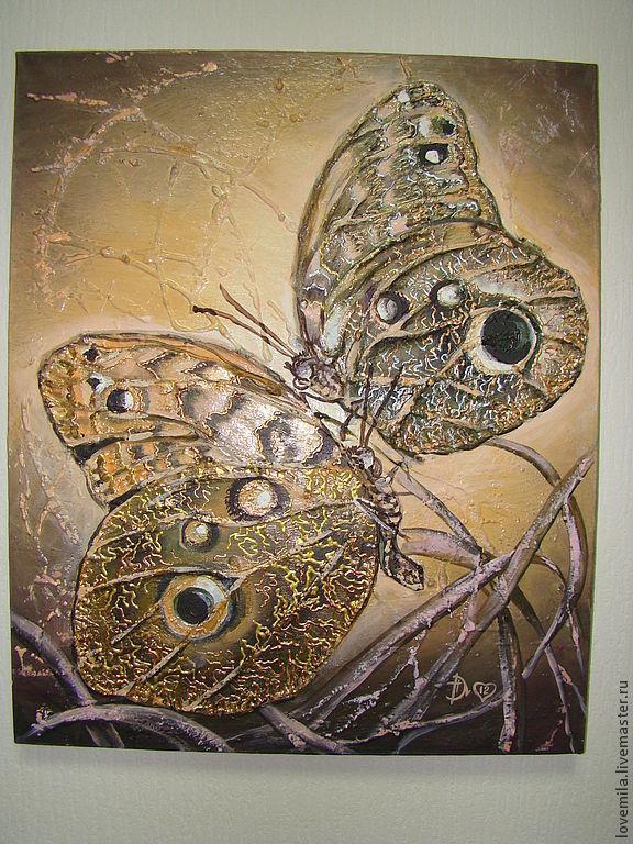 объёмная авторская картина маслом Бабочки кофе с молоком, Животные, Кемерово, Фото №1