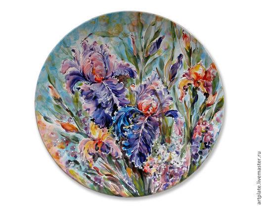 Керамическая тарелка Ирисы. Керамика ручной работы. Ярмарка мастеров.