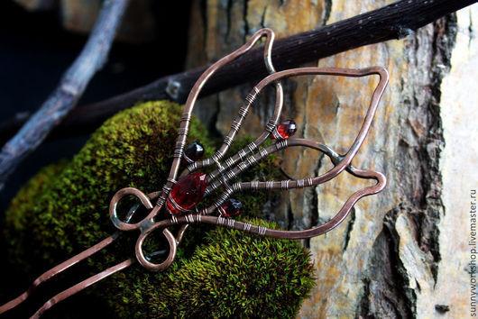 """Заколки ручной работы. Ярмарка Мастеров - ручная работа. Купить Шпилька для волос wire wrap """"Цветок папоротника"""". Handmade. шпилька"""