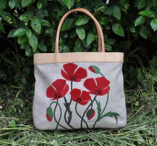 """Женские сумки ручной работы. Ярмарка Мастеров - ручная работа. Купить Льняная сумка с кожей """" Маки"""". Handmade."""