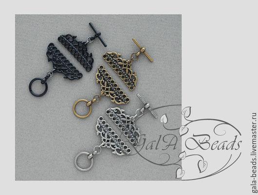 Для украшений ручной работы. Ярмарка Мастеров - ручная работа. Купить Застёжка тогл  для украшений на 8,10 нитей черный бронзовый серый. Handmade.