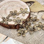 Материалы для творчества handmade. Livemaster - original item 10 PCs. Bead caps Flower Bronze 15 mm (Ref. 1340). Handmade.