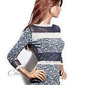 Одежда ручной работы. Ярмарка Мастеров - ручная работа Платье цветочно-кружевное /синее. Handmade.