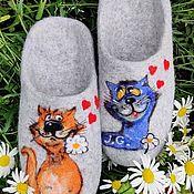 Обувь ручной работы handmade. Livemaster - original item Slippers: Felted slippers are a funny couple. Handmade.