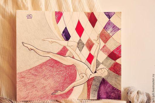 """Символизм ручной работы. Ярмарка Мастеров - ручная работа. Купить парная картина """"Воздушные гимнасты"""". Handmade. Модульная картина"""