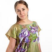 Одежда handmade. Livemaster - original item Satin hand painted tunic with irises. Handmade.