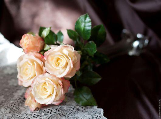 """Цветы ручной работы. Ярмарка Мастеров - ручная работа. Купить Роза """"Cabaret"""". Handmade. Белый, подарок ручной работы"""