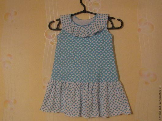 Одежда для девочек, ручной работы. Ярмарка Мастеров - ручная работа. Купить платье сердечки. Handmade. Голубой, кулирка