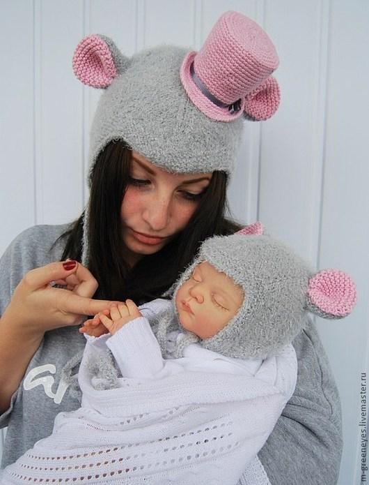"""Шапки ручной работы. Ярмарка Мастеров - ручная работа. Купить Шапочка для мамы """"Мама-мышка"""". Handmade. Шапка, шапка для взрослых"""