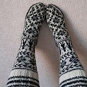 Аксессуары handmade. Livemaster - original item cotton knee-socks with Norwegian pattern. Handmade.