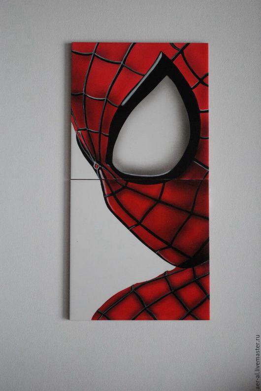 Элементы интерьера ручной работы. Ярмарка Мастеров - ручная работа. Купить Керамическая плитка человек паук. Handmade. Комбинированный, Керамика